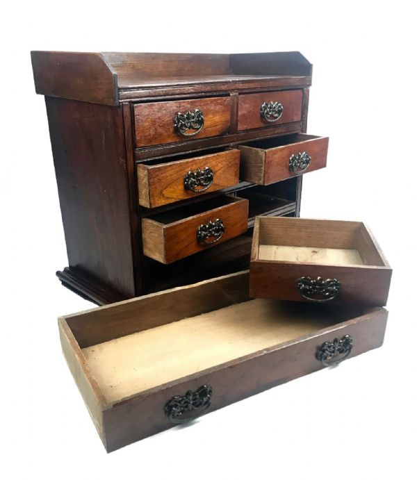 Antique Wooden Collectors Chest Of Drawers / Cabinet / Storage Box / Unit